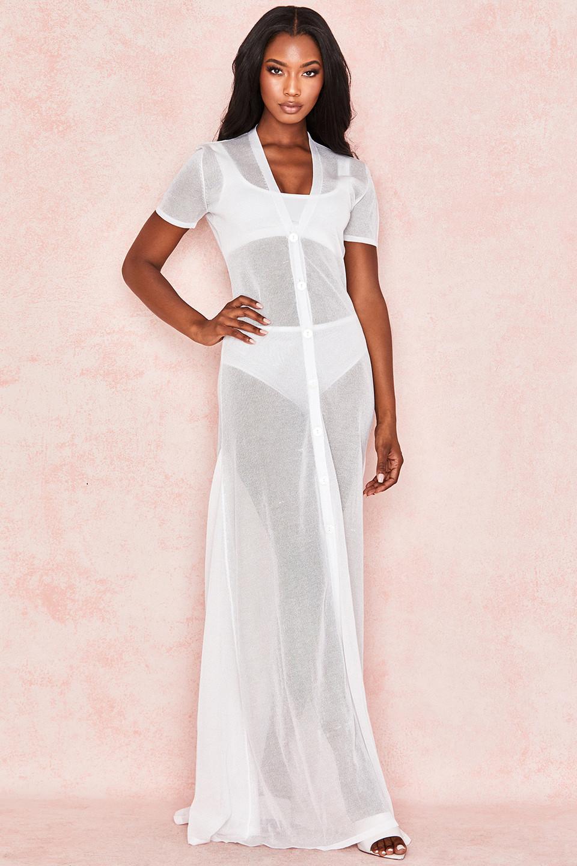Tanne Milk Semi Sheer Maxi Dress