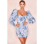 Lucrezia Blue + White Print Puff Sleeve Dress