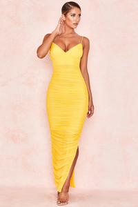 Belle Nuit Yellow Ruched Mesh Maxi Dress