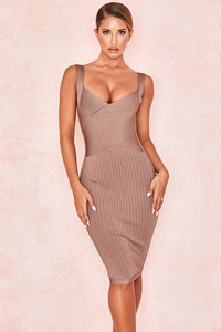 Carlita Tan Waist Cinching Bandage Dress