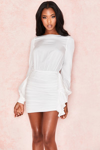 Chambery White Backless Ruched Mini Dress