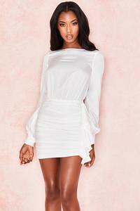 Chambery White Backless Ruched Mini Dress