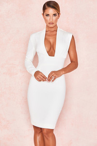 Corinne White One Sleeve Asymmetric Dress