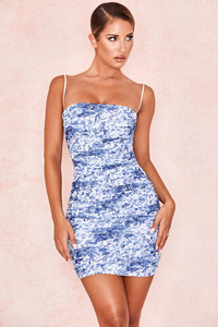 Ella Blue + White Ruched Organza Mesh Mini Dress