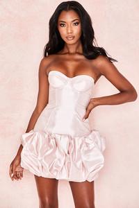 Guinevere Pink Taffeta Strapless Puff Dress