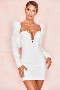 Liberte White Mutton Sleeve Button Dress