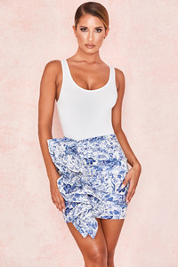 Marielle Blue + White Print Ruffle Mini Skirt