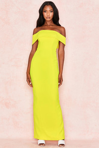 Shelby Yellow Crepe Off Shoulder Column Maxi Dress
