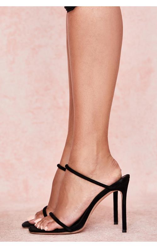 Barefoot Black Suede Skinny Strap Sandal