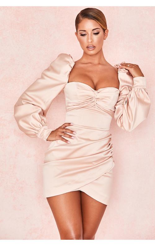 Cherie Blush Satin Puff Sleeve Dress