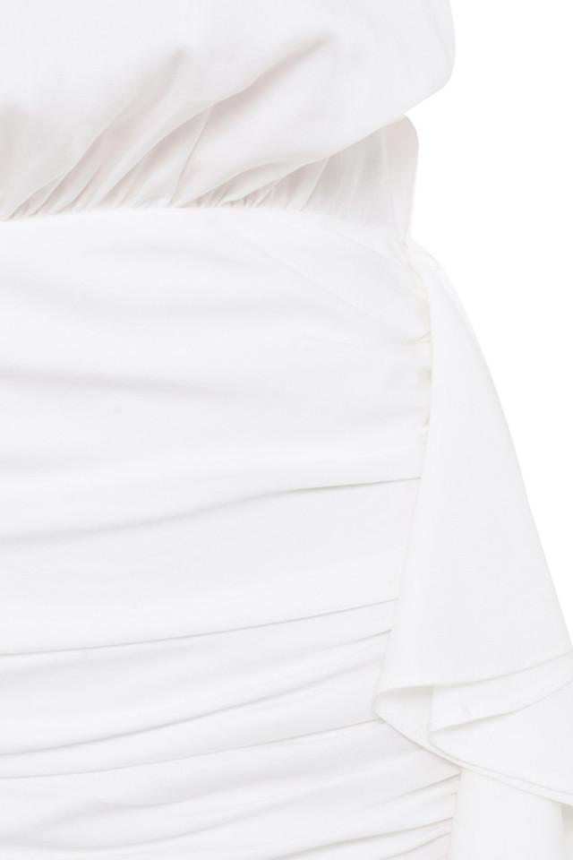 white chambery dress