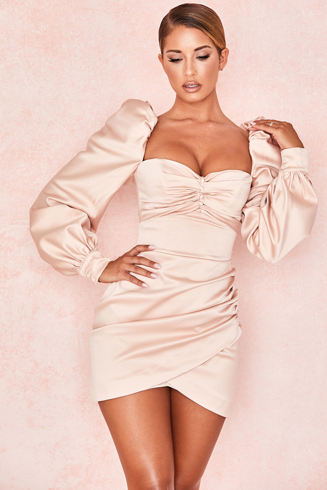 Cherie Blush Satin Puff Sleeve Dress