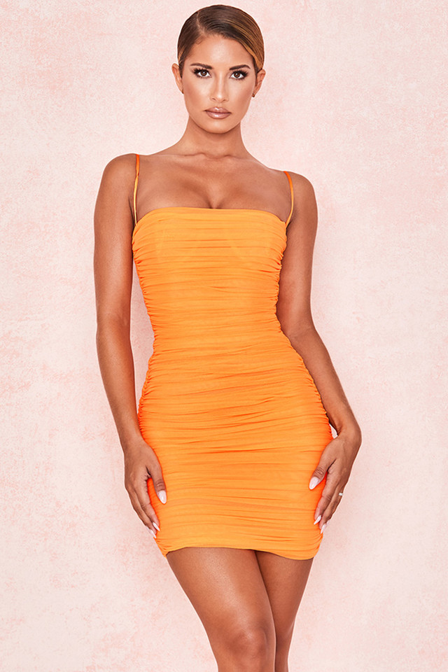 Ella Tangerine Ruched Organza Mesh Mini Dress