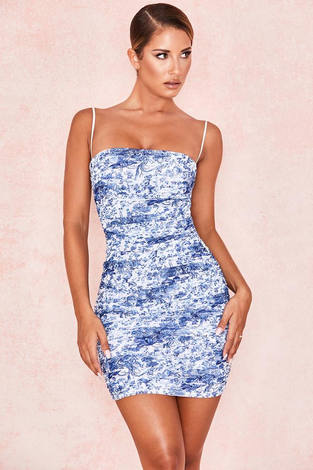 Ella Blue + White Ruched Organza Mesh Mini Dress