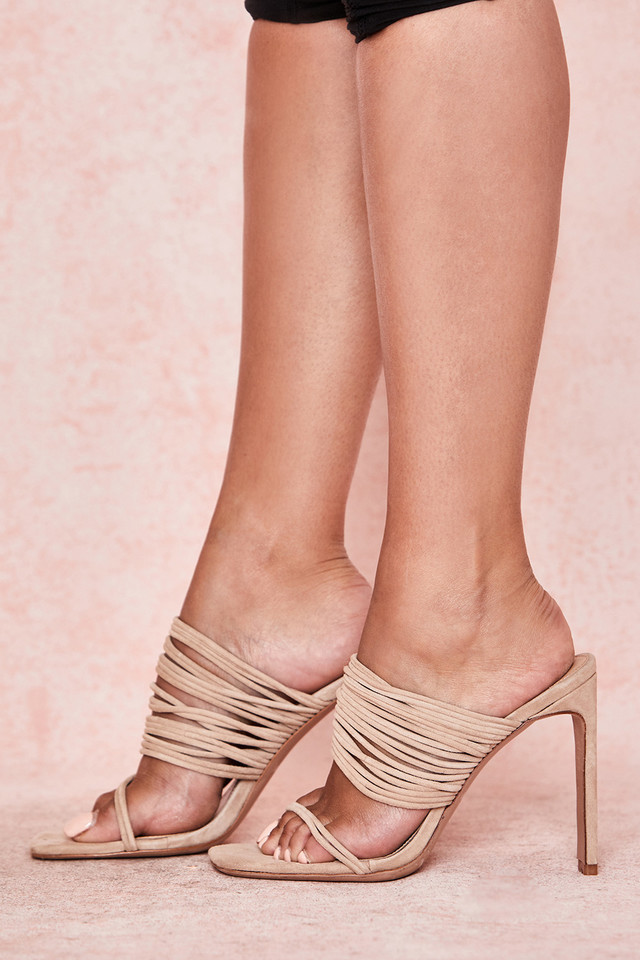 Evangeline Beige Square Toe Strappy Sandals