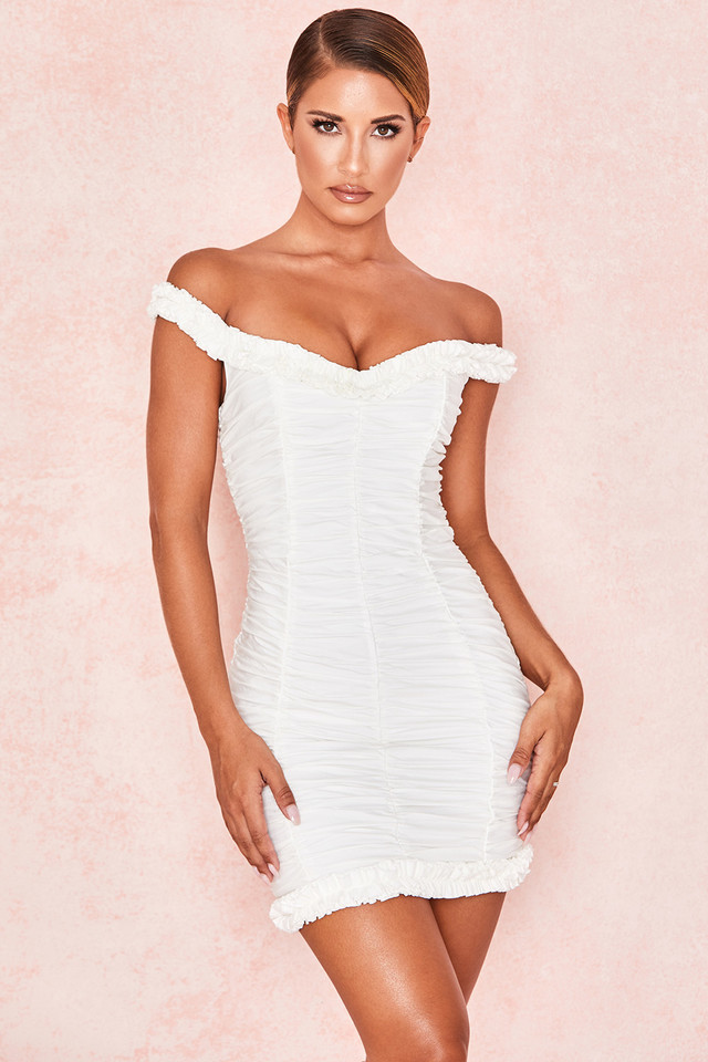 Hermione White Off Shoulder Ruffle Mini Dress