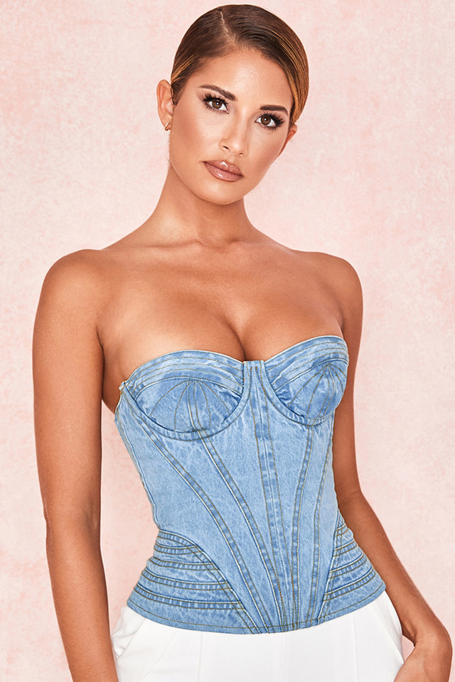Joie Pale Denim Topstitched Corset