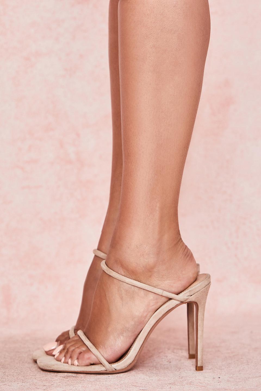 Barefoot Beige Suede Skinny Strap Sandal