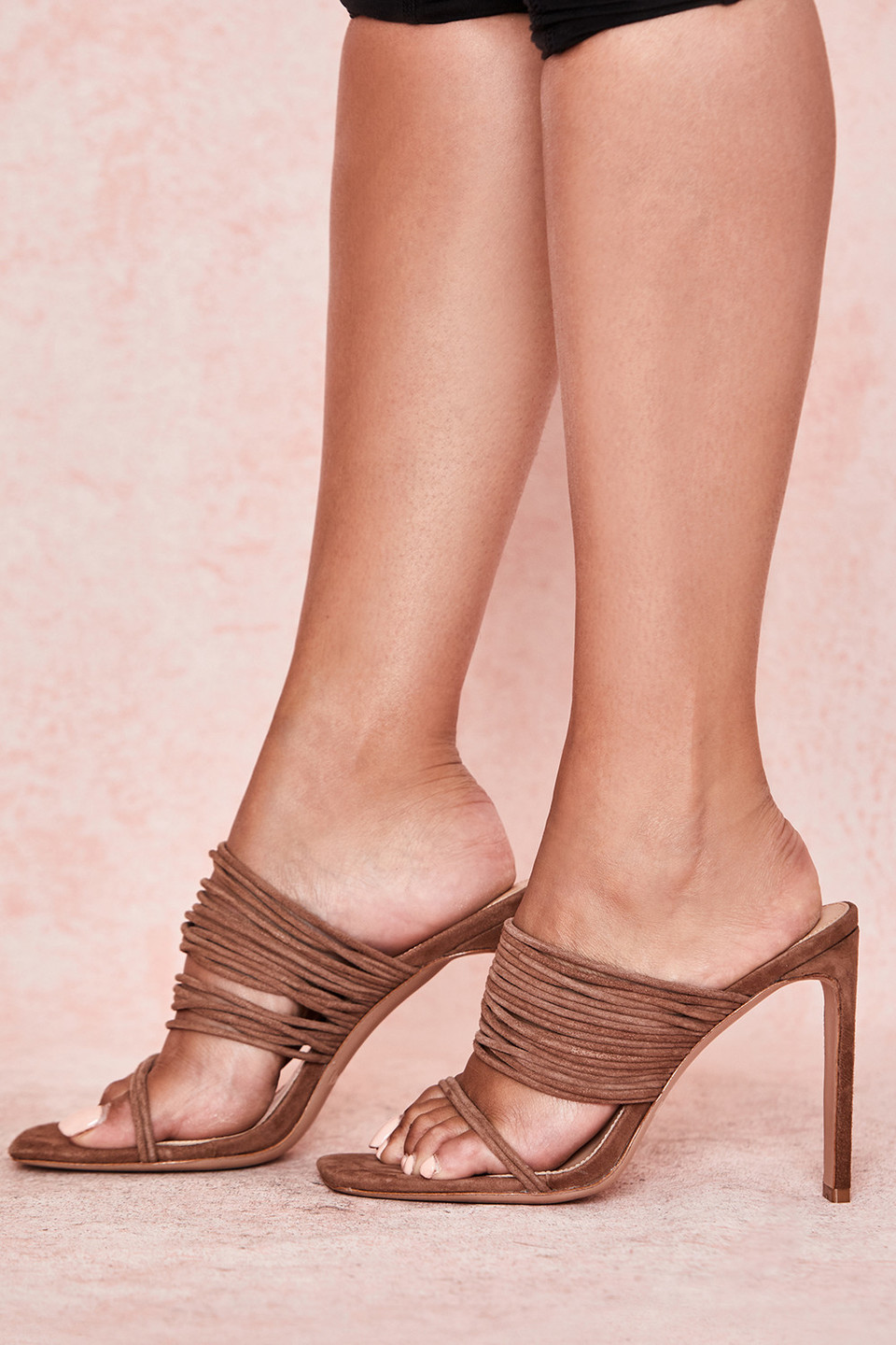 Evangeline Mocha Square Toe Strappy Sandals