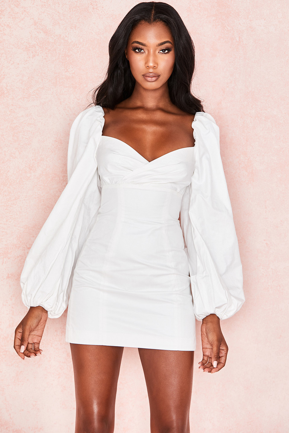 Jadore White Cotton Puff Sleeve Mini Dress
