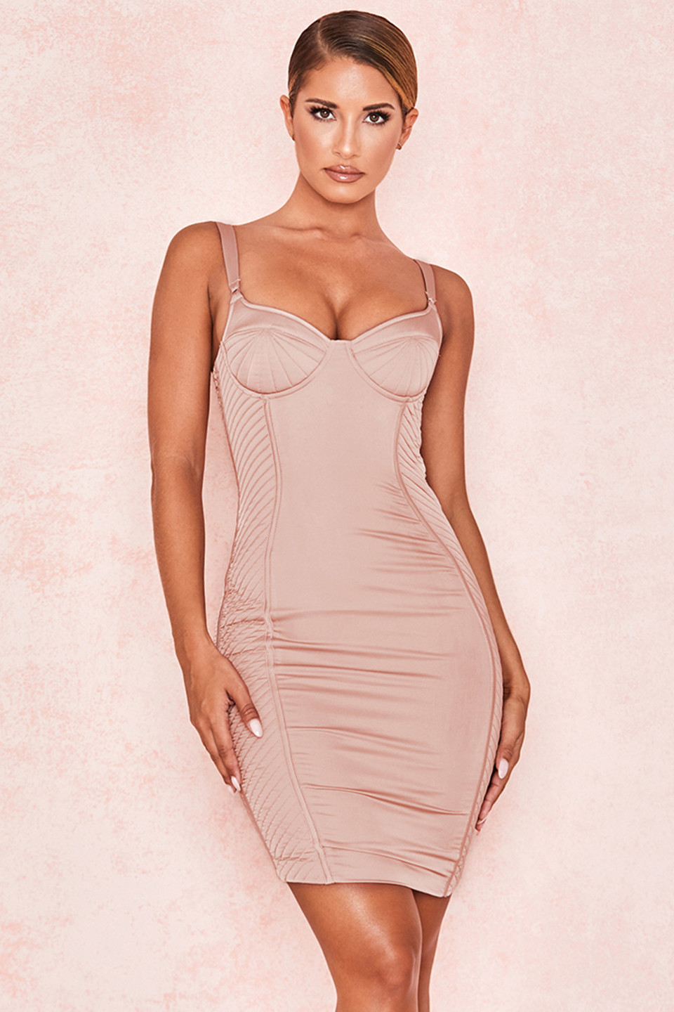 Lafayette Blush Satin Quilted Corset Dress