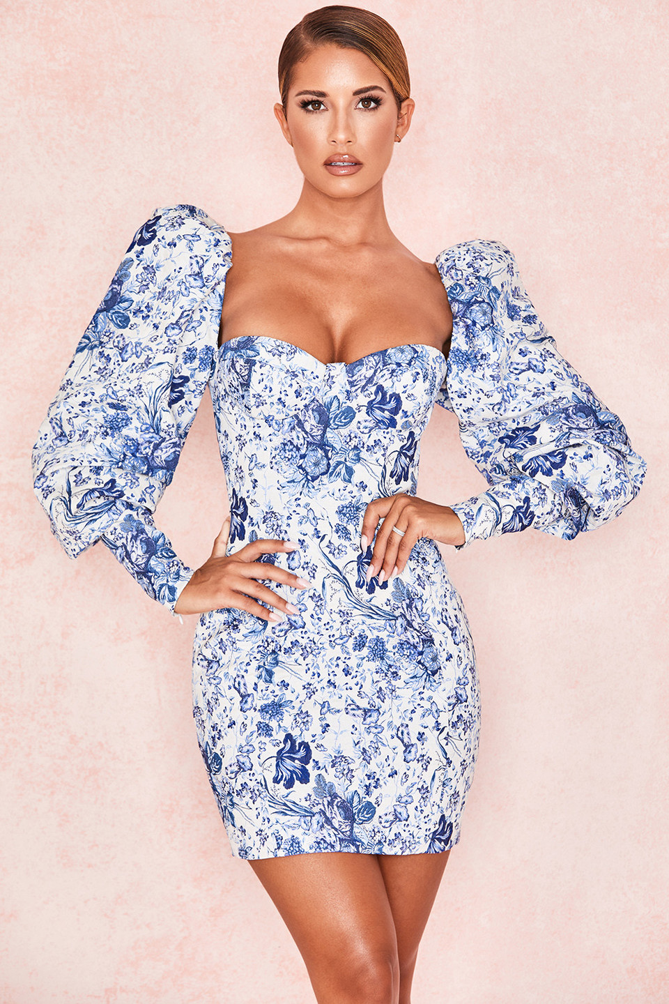 Lucrezia Blue + White Print Puff Sleeve Dress