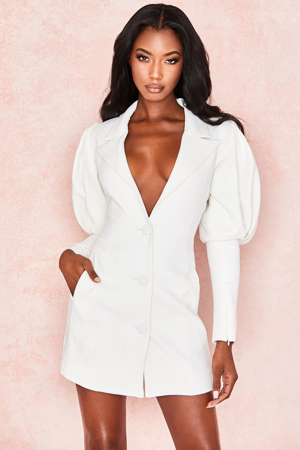 Saint Jean White Puff Sleeve Blazer Dress