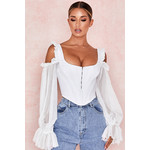 Claudette White Corset with Drop Sleeves