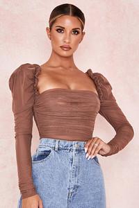 Emme Mocha Ruched Chiffon Puff Sleeve Bodysuit