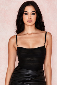 Pearl Black Ruched Mesh Bodysuit