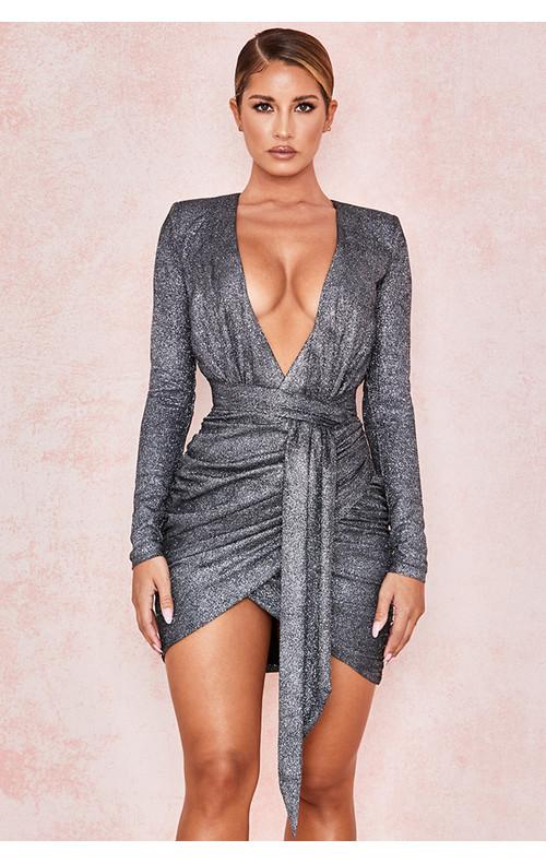 Annukka Graphite Sparkle Wrap Dress