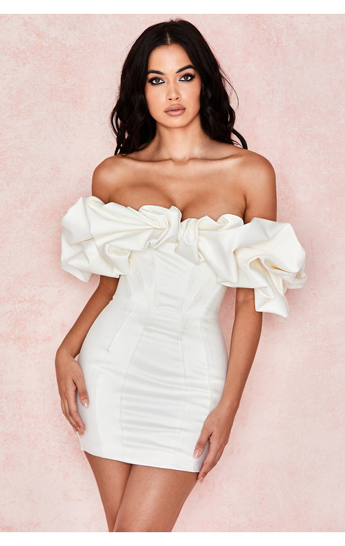 Selena Ivory Satin Ruffle Strapless Dress