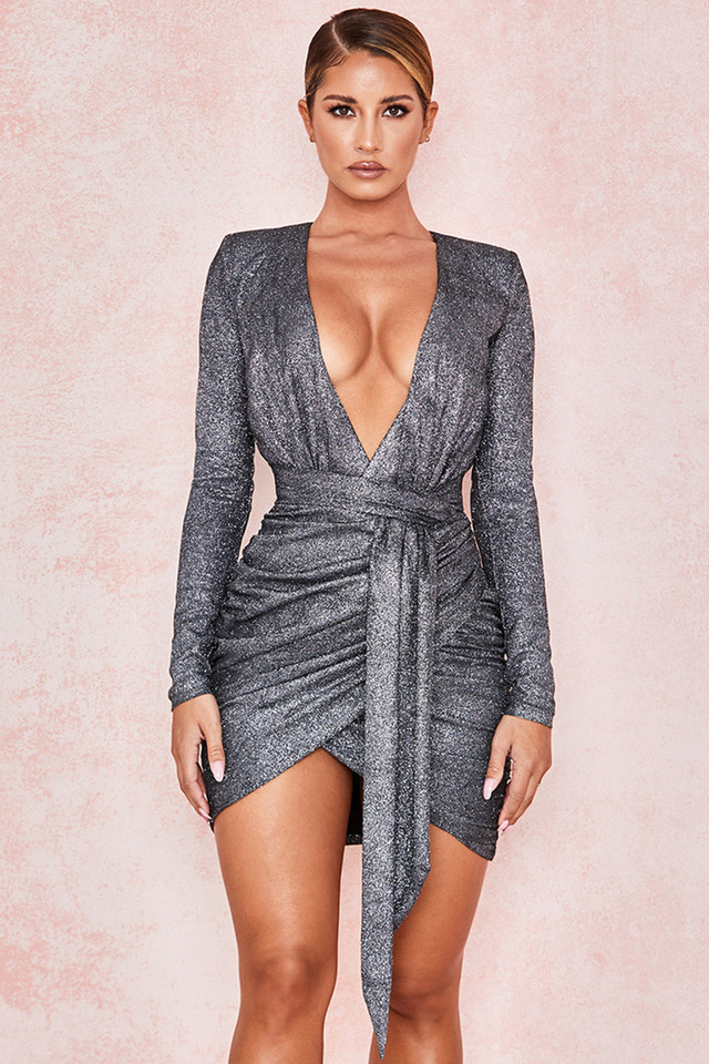 Annukka Graphite Sparkle Wrap Dress