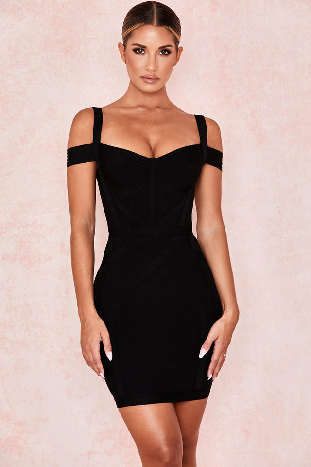 Blaise Black Bardot Bandage Mini Dress