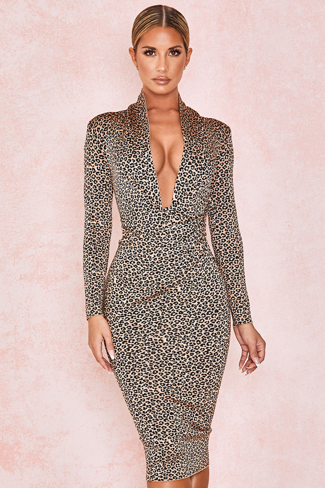 Francesca Leopard Print Bandage Midi Dress