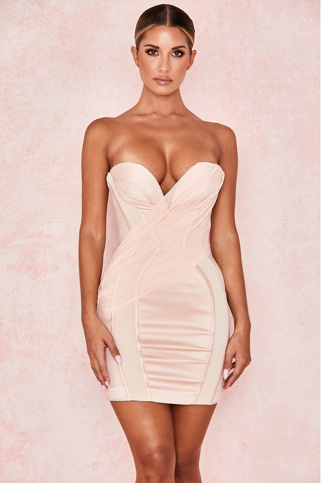 Gisou Blush Satin Strapless Dress