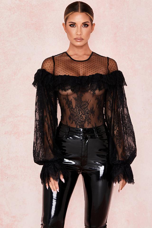 Jett Black Frilled Lace Chiffon Bodysuit
