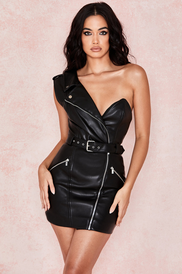 Roselle Black Vegan Leather One Shoulder Dress