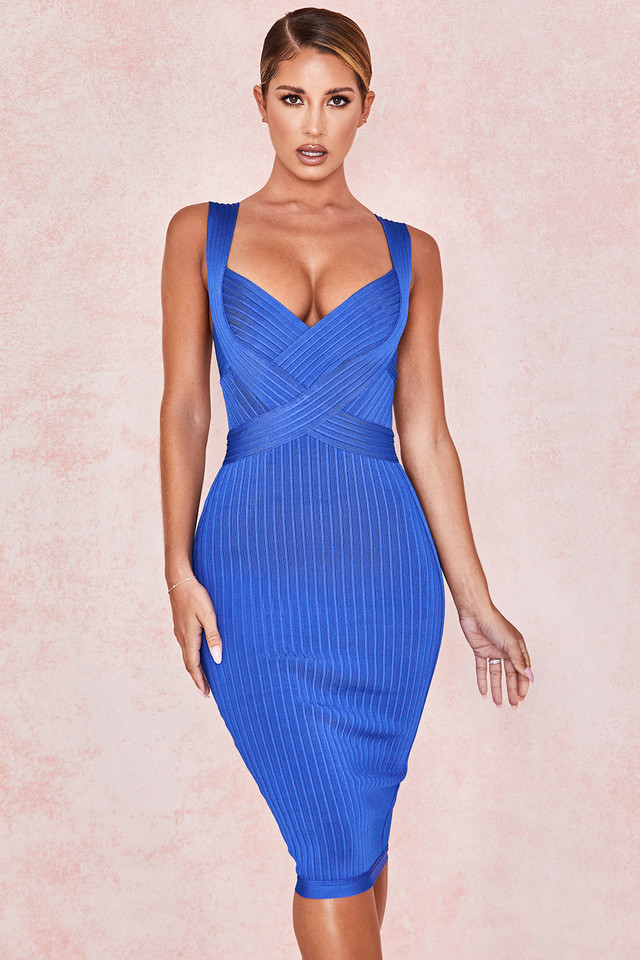 Sharna Cobalt Blue Cinch Waist Bandage Dress
