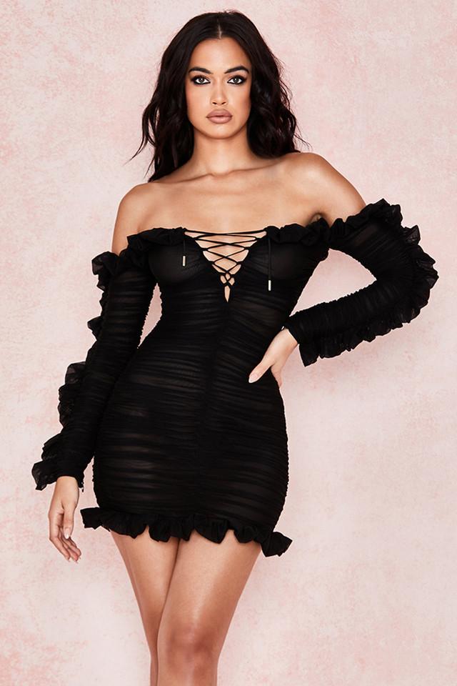 Tatyana Black Frilled Lace Up Dress