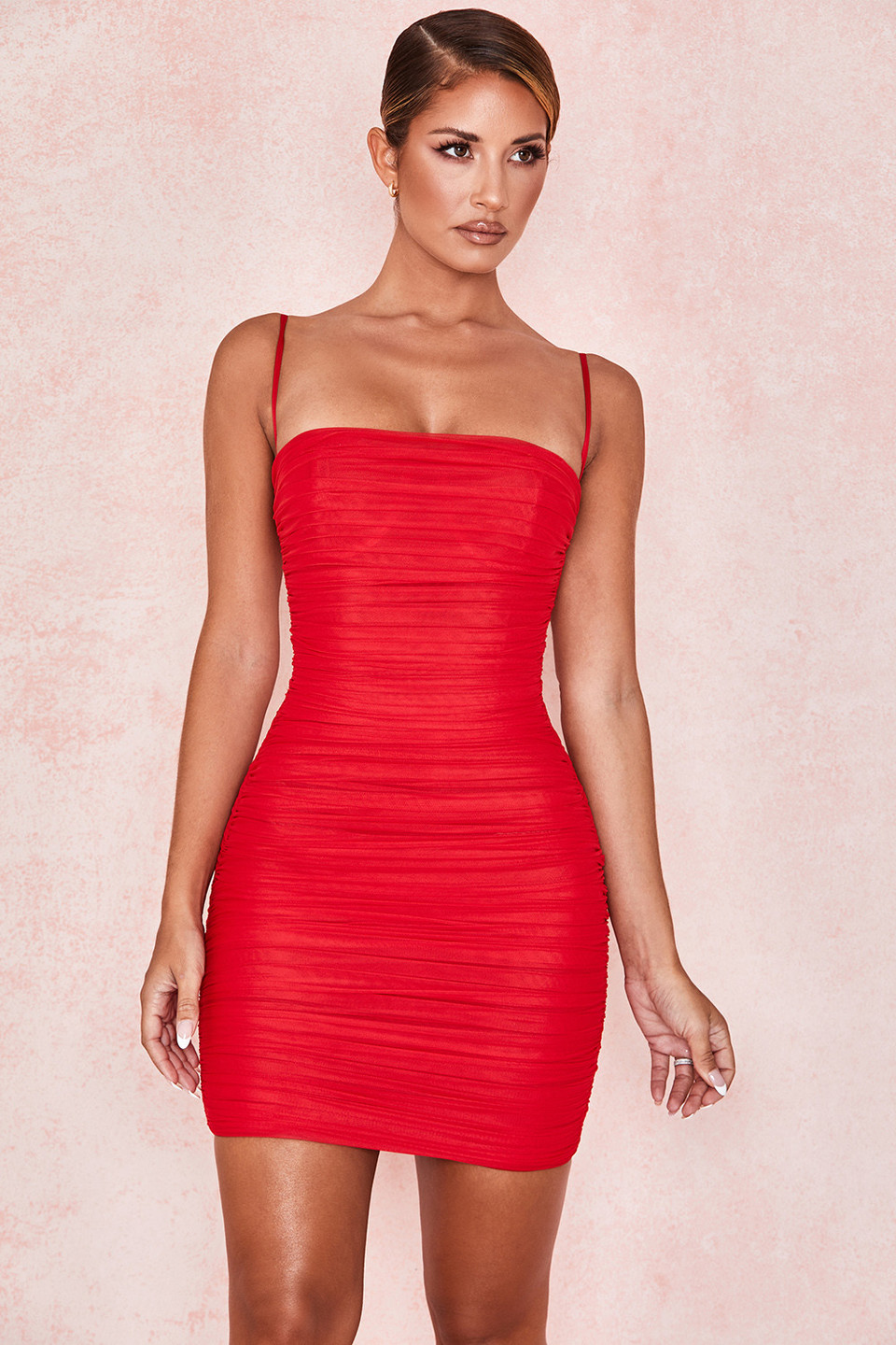 Ella Red Gathered Mesh Mini Dress