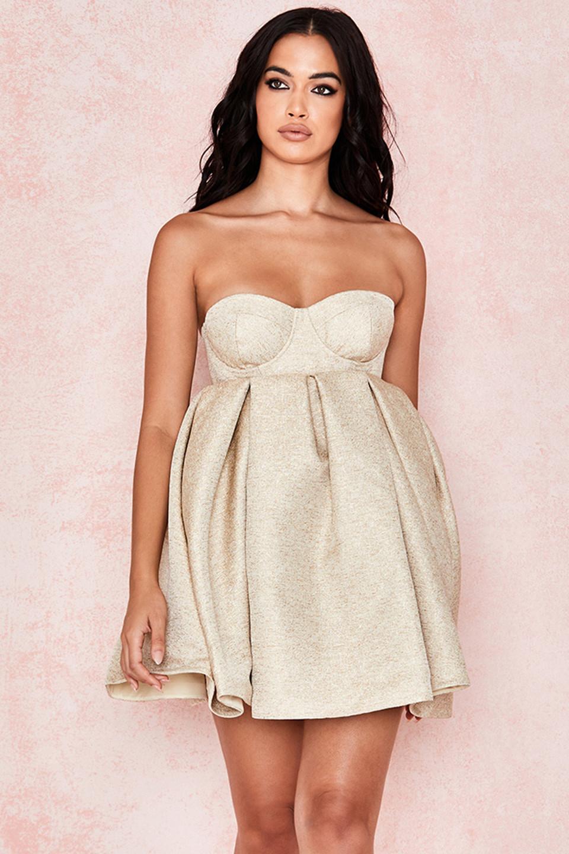 Zaza Light Gold Strapless Bubble Dress