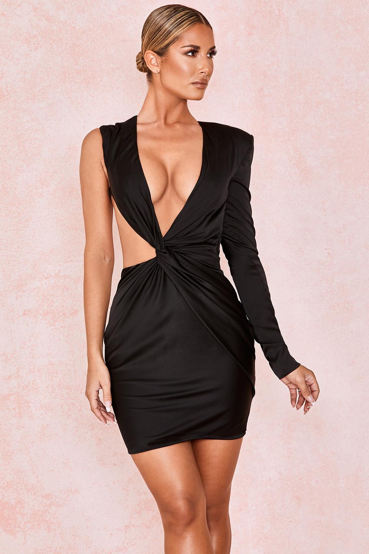 Zemora Black Draped Satin Mini Dress