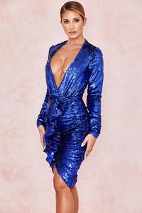 Iman Cobalt Sequinned Draped Skirt