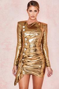 Gaby Gold Metallic Lame Drape Dress