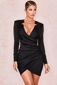 Nelinha Black Gathered Tux Wrap Dress
