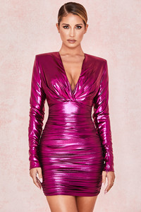Zandra Metallic Pink Deep V Ruched Dress
