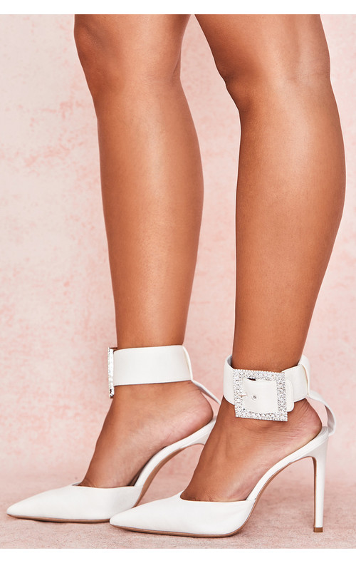 Krista Ivory Crystal Buckle Pumps