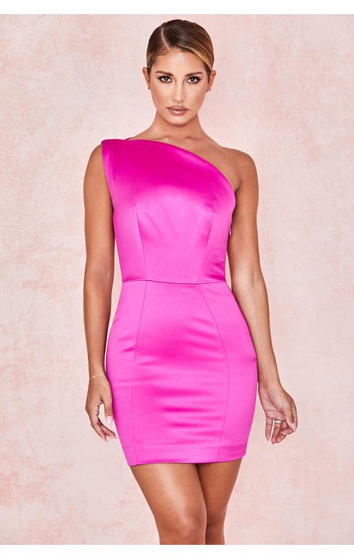 Ayelen Pink Duchess Satin One Shouldered Mini Dress
