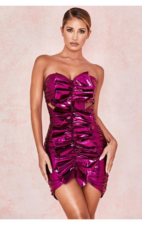 Caterina Metallic Pink Ruched Ruffle Dress